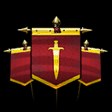 three overlapping red banners depicting a gold dagger in their center