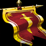 flapping red banner with golden outline and centered golden dagger