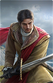 dark haired male in gold with red cape wielding sword with both hands