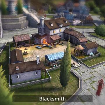 Screenshot of blacksmith building.
