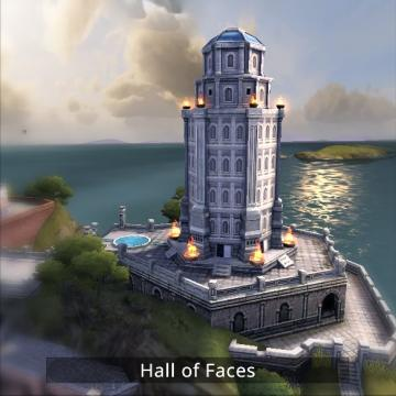 Screenshot of hall of faces building.