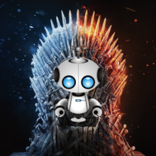 robot siting on the iron throne