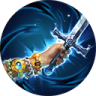 jewel clad hand holding sword over blue swirling background